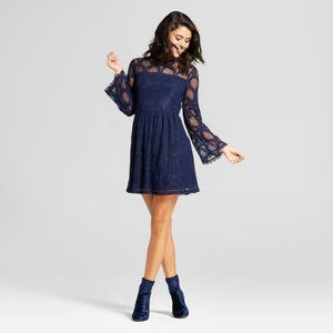 New Women's Navy Lace Mini Dress